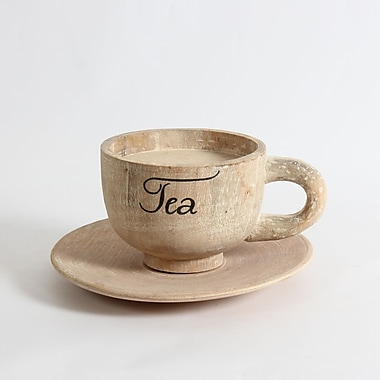 Wooden Tea Cup with Saucer Decor, 10.5