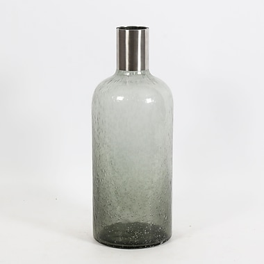 Grey Glass Bottle with Silver Top, Large, 6.1
