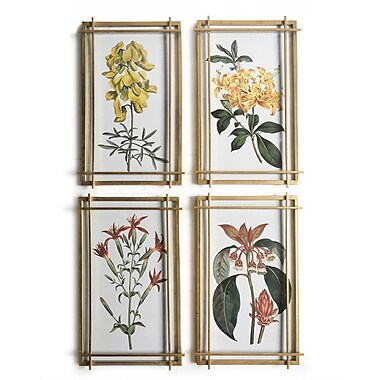 Flowers Wall Printing with Glass Face S/4, 12.8