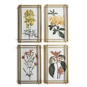 "Flowers Wall Printing with Glass Face S/4, 12.8"" x 1"" x 20.5"" (701B-WX2854-S4)"