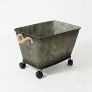 Metal Planter With Wheel And Rope Handle (7111-TX7243-00)