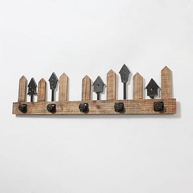 Plaque murale en bois à crochets avec petites maisons (7168-TX5436-00)