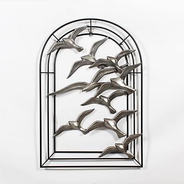Décoration murale en métal de 9 oiseaux en vol avec arche, 27,95 x 2,5 x 40 po (7168-WX1289-00)