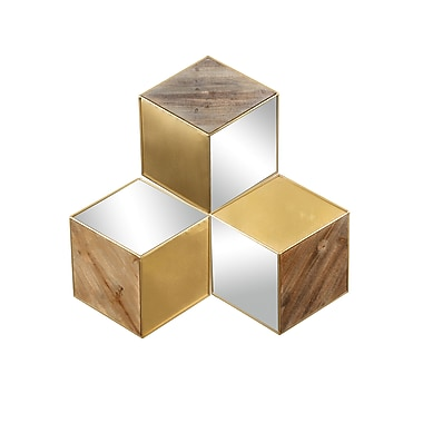 Metal/Wood/Mirror Cube Wall Decor, 23.5