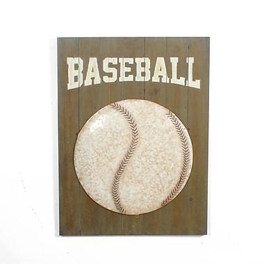 Plaque murale baseball en métal 23,5 x 2,5 x 32 po (7321-WX2202-00)