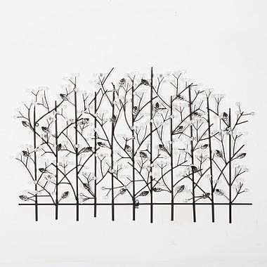 Décoration murale en forme de feuilles sur une clôture, 37,6 x 2,6 x 25 po (7400-WX2930-00)
