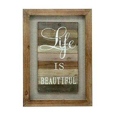 Plaque murale en bois avec inscription « Life Is Beautiful », 15,75 x 1,97 x 23,62 po (7808-TX5649-00)