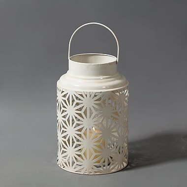 White Lantern With Handle, 7.9