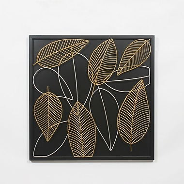 11 Leaves Sq Wall Decor with Bk 26.5