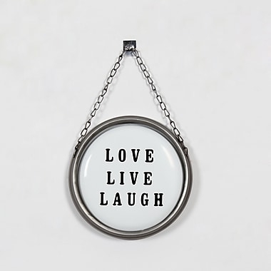 Plaque ronde suspendue « Love, Live, Laugh », blanc, 12 x 4 x 33 po (9044-WX1433-00)