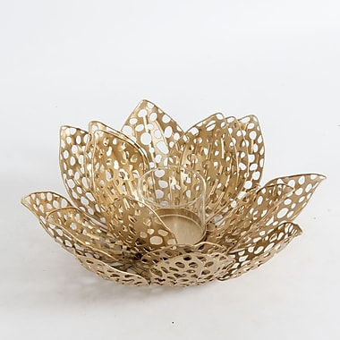 Gold Flower Table Decor with Candle Holder, Large, 9.5