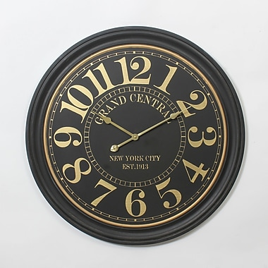 Golden Number On Black Round Wall Clock 31.5