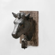 "Cow Head with Bell Wall Plaque, 4.84"" x 5.98"" x 7.48"" (9668-TX6369-00)"