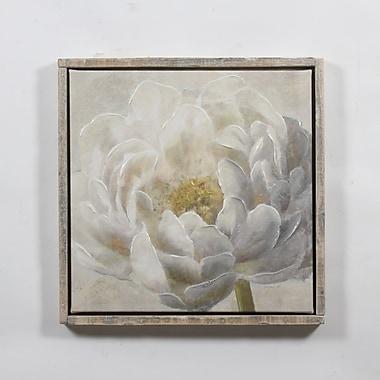 Toile fleuraison blanche avec cadre, 24 x 2 x 24 po (9741-WX3664-00)