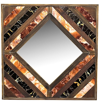 Union Rustic Square Wood Wall Mounted Mirror