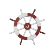 Handcrafted Nautical Decor Ship 18'' Decorative Ship Wheel w/ Sailboat Wall D cor; Red