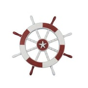 Handcrafted Nautical Decor Ship 18'' Decorative Ship Wheel w/ Starfish Wall D cor; Red