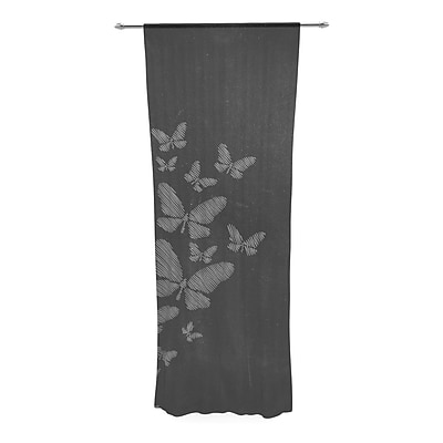 Snap Studio Butterflies IV Chalk Decorative Wildlife Sheer Rod Pocket Curtain Panels (Set of 2) WYF078281160596