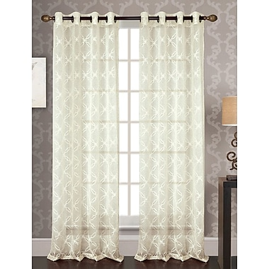 Alcott Hill Featherston Embroidered Geometric Semi-Sheer Single Grommet Curtain Panel; Ivory