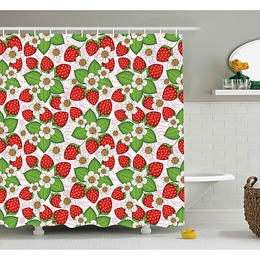 August Grove Burleigh Floral Strawberry Scene Shower Curtain; 69'' W x 70'' L