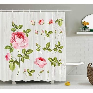 August Grove Burmuda Vintage Rose Petals Leaf Shower Curtain; 69'' W x 75'' L