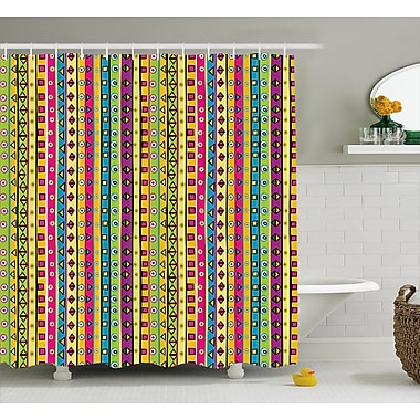 Bloomsbury Market Beachmere Colored Abstract Stripes Shower Curtain; 69'' W x 75'' L