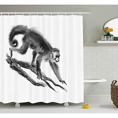 Bloomsbury Market Antione Exotic Jungle Monkey Shower Curtain; 69'' W x 75'' L