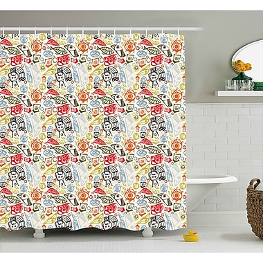 Bloomsbury Market Anya Abstract Colorful Image Shower Curtain; 69'' W x 75'' L