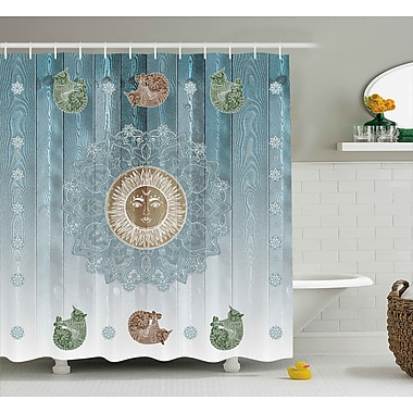 Bloomsbury Market Beecroft Totem Zen Boho Sun Cats Shower Curtain; 69'' W x 84'' L
