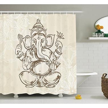 Bloomsbury Market Beldin Cream Elephant God Art Shower Curtain; 69'' W x 84'' L
