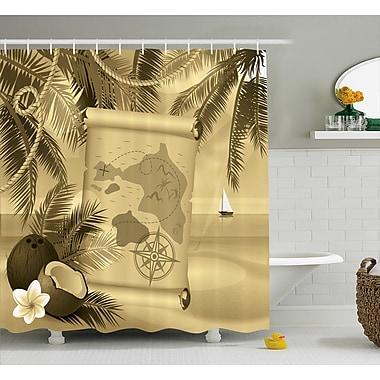 Bayou Breeze Aragon Sepia View of Island Shower Curtain; 69'' W x 75'' L