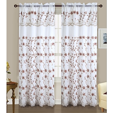 Charlton Home Lambert Embroidered Nature/Floral Semi-Sheer Double Rod Pocket Single Curtain Panel