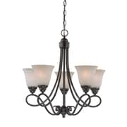 Charlton Home Ellis 5-Light Shaded Chandelier; Old Bronze with Amber Tinted Faux Alabaster Glass