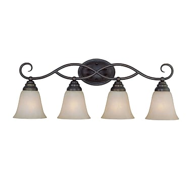 Charlton Home Ellis 4-Light Vanity Light; Old Bronze with Amber Tinted Faux Alabaster Glass