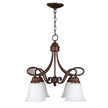 Charlton Home Ellis 4-Light Shaded Chandelier; Oiled Bronze with White Frosted Glass