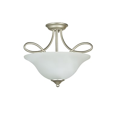 Charlton Home Ellis 3-Light Semi Flush Mount; Satin Nickel with White Frosted Glass