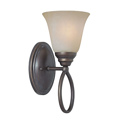 Charlton Home Ellis 1-Light Wall Sconce; Old Bronze with Amber Tinted Faux Alabaster Glass