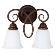 Charlton Home Ellis 2-Light Wall Sconce; Oiled Bronze with White Frosted Glass