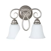Charlton Home Ellis 2-Light Wall Sconce; Satin Nickel with White Frosted Glass