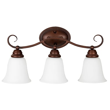 Charlton Home Ellis 3-Light Vanity Light; Oiled Bronze with White Frosted Glass
