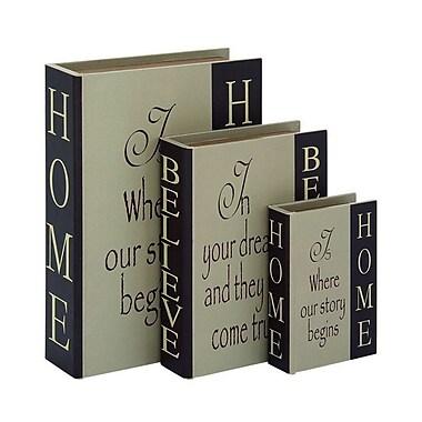 Cole & Grey Wood Leather 3 Piece Decorative Box Set