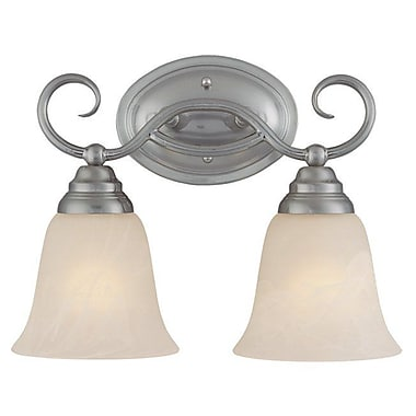 Charlton Home Ellis 2-Light Vanity Light; Satin Nickel with White Faux Alabaster