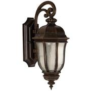 Charlton Home Oakhill Peruvian Bronze Glass 1-Light Outdoor Wall Lantern