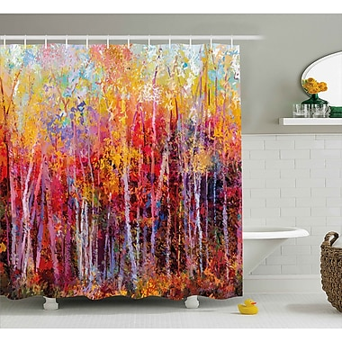 Charlton Home Bartlett Autumn Forest Painting Shower Curtain; 69'' W x 70'' L