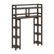 Charlton Home Corte 2-Tier 34.46'' W x 48'' H Wood Over-the-Toilet Shelving Unit; Espresso