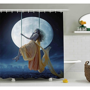 East Urban Home Space Swing in the Sky Moon Shower Curtain; 69'' W x 75'' L