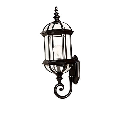 Darby Home Co Grenville 1-Light Outdoor Cast Aluminum Sconce; Matte Black