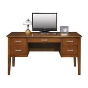 Darby Home Co Eaton Keyboard Drawer Computer Desk w/ 2 right & 2 Left Drawers; Brown Cherry