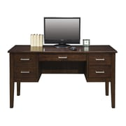 Darby Home Co Eaton Keyboard Drawer Computer Desk w/ 2 right & 2 Left Drawers; Chocolate
