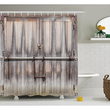 East Urban Home Retro Wooden Oak Country Gate Shower Curtain; 69'' W x 84'' L